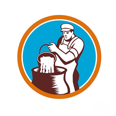 Cheesemaker Pouring Bucket Curd Circle Woodcut Poster