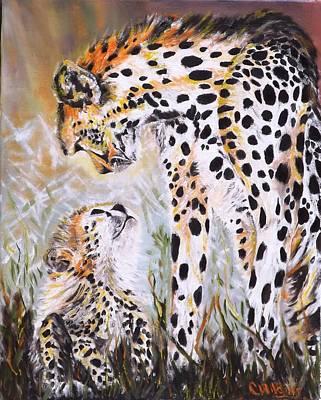 Cheetah And Pup Poster