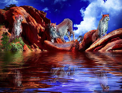 Cheetah Lake Poster by Carol Cavalaris