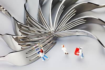 Poster featuring the photograph Chef And Forks Little People On Food  by Paul Ge