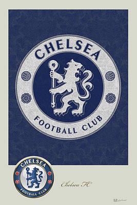 Chelsea F C - 3 D Badge Over Vintage Logo Poster by Serge Averbukh