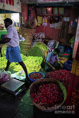 Poster featuring the photograph Chennai Flower Market Busy Morning by Mike Reid