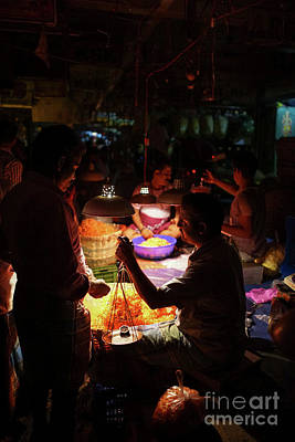 Poster featuring the photograph Chennai Flower Market Transaction by Mike Reid