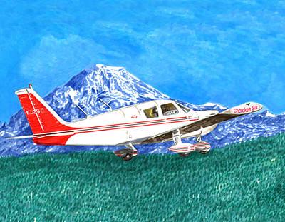Cherokee 6 Circling Mount Rainier Poster