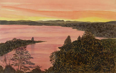 Poster featuring the painting Cherokee Lake - Golden Glow by Joel Deutsch