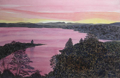 Poster featuring the painting Cherokee Lake Sunset by Joel Deutsch