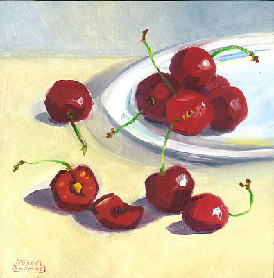 Poster featuring the painting Cherries On A Plate by Susan Thomas