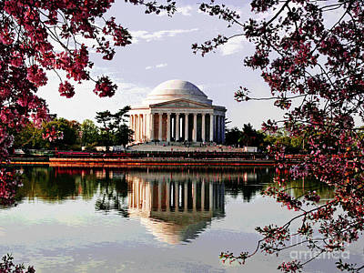 Cherry Blossoms At Jefferson Memorial Poster