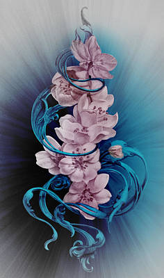 Cherry Blossoms On Blue Poster by Irina Effa