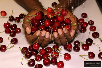 Cherry In The Hands Poster by Paul SEQUENCE Ferguson             sequence dot net
