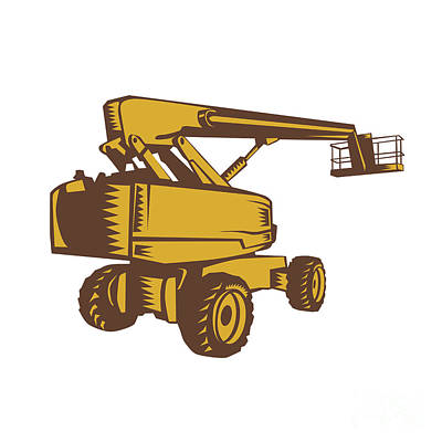 Cherry Picker Mobile Lift Platform Woodcut Poster