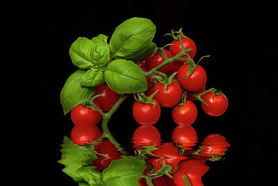 Poster featuring the photograph Cherry Tomatoes And Basil by David French
