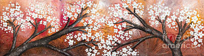 Cherry Tree In Red Poster by Home Art