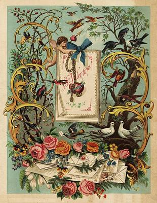 Cherubs, Doves, And Foliage In Outdoor Poster
