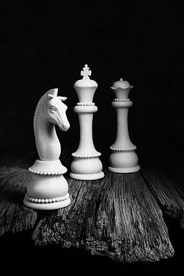 Chess Pieces On Old Wood Poster
