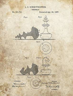 Chess Pieces Patent Poster by Dan Sproul