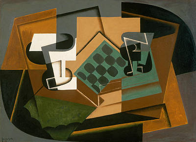 Chessboard, Glass, And Dish Poster by Juan Gris