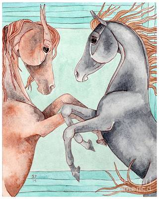 Chestnut And Black Horses On Turquoise Poster by Suzanne Joyner
