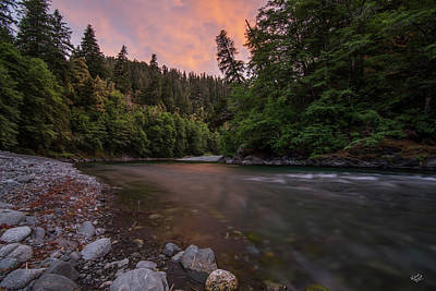 Poster featuring the photograph Chetco River Sunset by Leland D Howard