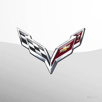 Chevrolet Corvette  3 D  Badge Special Edition On White Poster