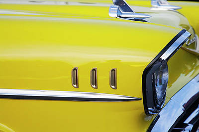 Chevy Bel Air Abstract In Yellow Poster by Toni Hopper