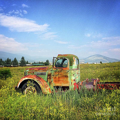 Poster featuring the mixed media Chevy In A Field by Terry Rowe
