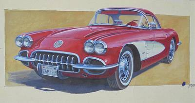 Poster featuring the drawing Chevy by Mike Jeffries