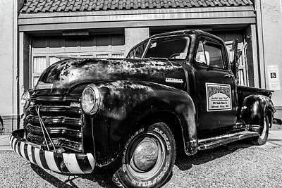 Chevy Pickup At Wally's Poster by Cynthia Wolfe