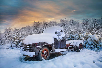 Chevy Pickup Truck In The Snow Poster