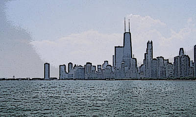 Poster featuring the photograph Chicago Across Lake Michigan by Skyler Tipton