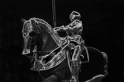 Chicago Art Institute Armored Knight And Horse Bw Pa 02 Poster by Thomas Woolworth