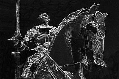 Chicago Art Institute Armored Knight And Horse Bw Pa 04 Poster by Thomas Woolworth