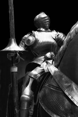 Chicago Art Institute Armored Knight Bw Vertical 01 Poster by Thomas Woolworth