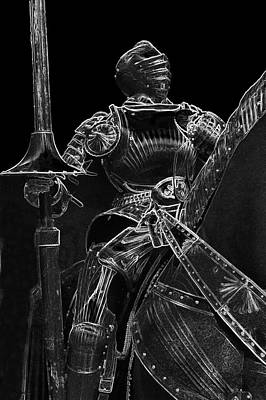 Chicago Art Institute Armored Knight Bw Vertical Pa 03 Poster by Thomas Woolworth