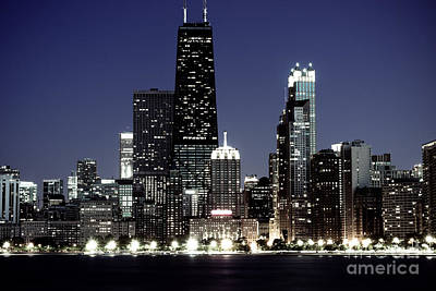 Chicago At Night High Resolution Poster by Paul Velgos