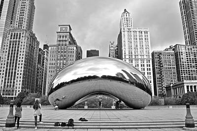 Chicago Bean In Black And White Poster by Frozen in Time Fine Art Photography