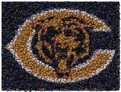 Chicago Bears Bottle Cap Mosaic Poster by Paul Van Scott