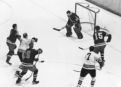 Chicago Blackhawks Bobby Hull Scores On Rangers Ed Giacomin. 1966 Poster