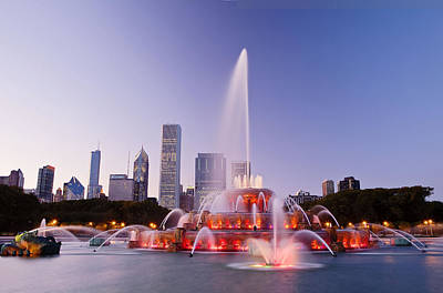 Chicago Buckingham Fountain At Twilight Poster by Abhi Ganju
