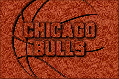 Chicago Bulls Leather Art Poster by Joe Hamilton