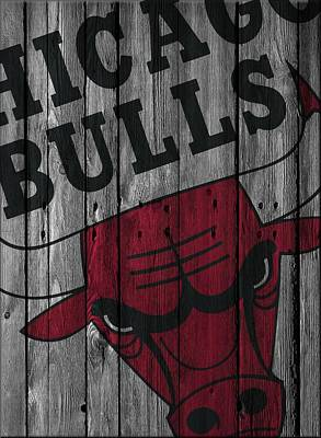 Chicago Bulls Wood Fence Poster by Joe Hamilton