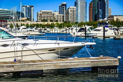 Chicago Burnham Harbor Boats Poster by Paul Velgos