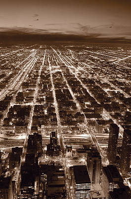 Chicago City Lights West B W Poster