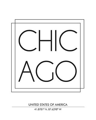 Chicago City Print With Coordinates Poster