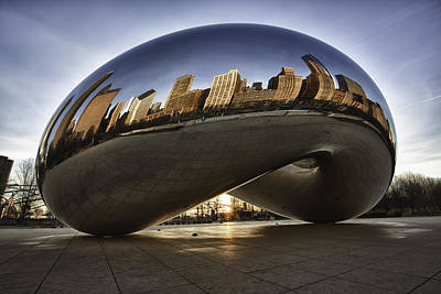 Chicago Cloud Gate At Sunrise Poster by Sebastian Musial