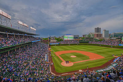 Chicago Cubs Wrigley Field 5 8228 Poster by David Haskett