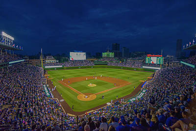 Chicago Cubs Wrigley Field 9 8357 Poster by David Haskett