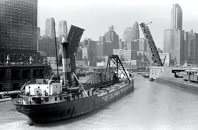 Poster featuring the photograph Chicago Draw Bridge 1941 by Daniel Hagerman