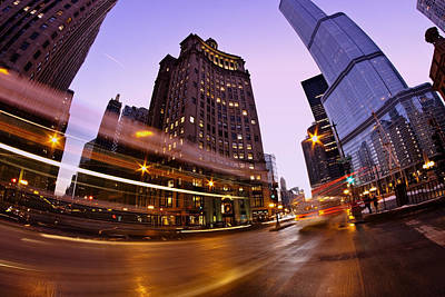 Chicago Dusk Time Exposure Poster