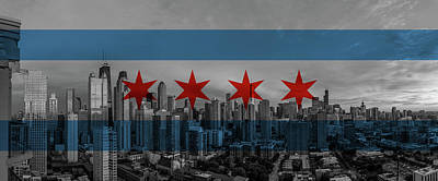 Chicago Flag And Panoramic Poster by Adam Oles